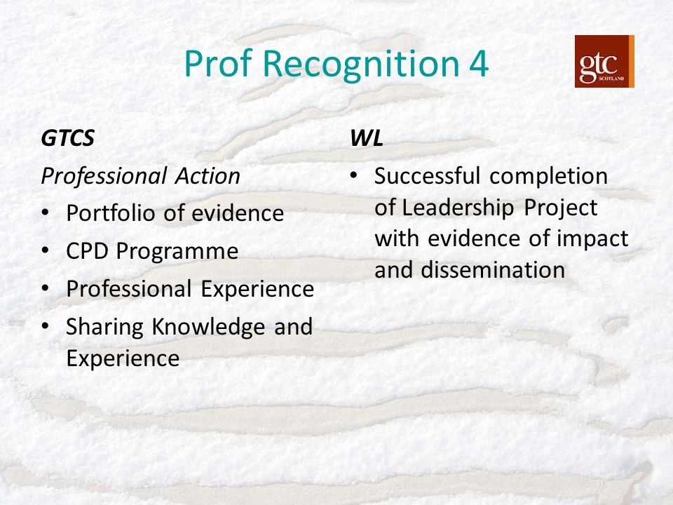 Prof Recognition 4 GTCS Professional Action Portfolio of evidence CPD Programme Professional Experience Sharing Knowledge and Experience WL Successful