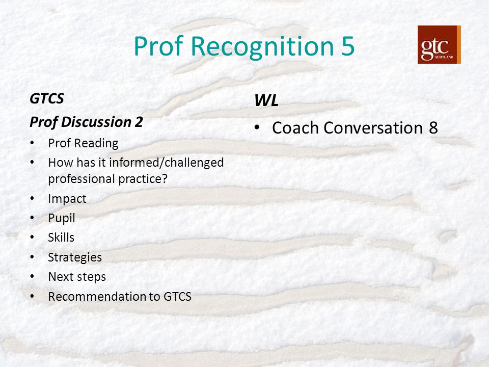 Prof Recognition 5 GTCS Prof Discussion 2 Prof Reading How has it informed/challenged professional practice? Impact Pupil Skills Strategies Next steps
