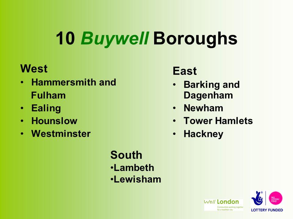 10 Buywell Boroughs West Hammersmith and Fulham Ealing Hounslow Westminster East Barking and Dagenham Newham Tower Hamlets Hackney South Lambeth Lewisham