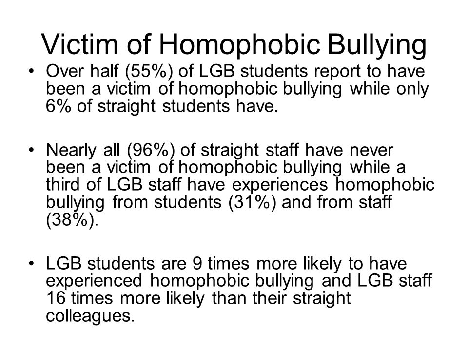 Victim of Homophobic Bullying Over half (55%) of LGB students report to have been a victim of homophobic bullying while only 6% of straight students have.