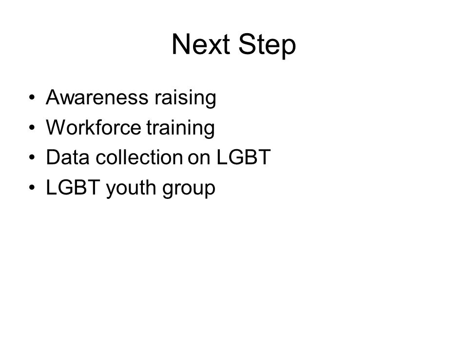 Next Step Awareness raising Workforce training Data collection on LGBT LGBT youth group