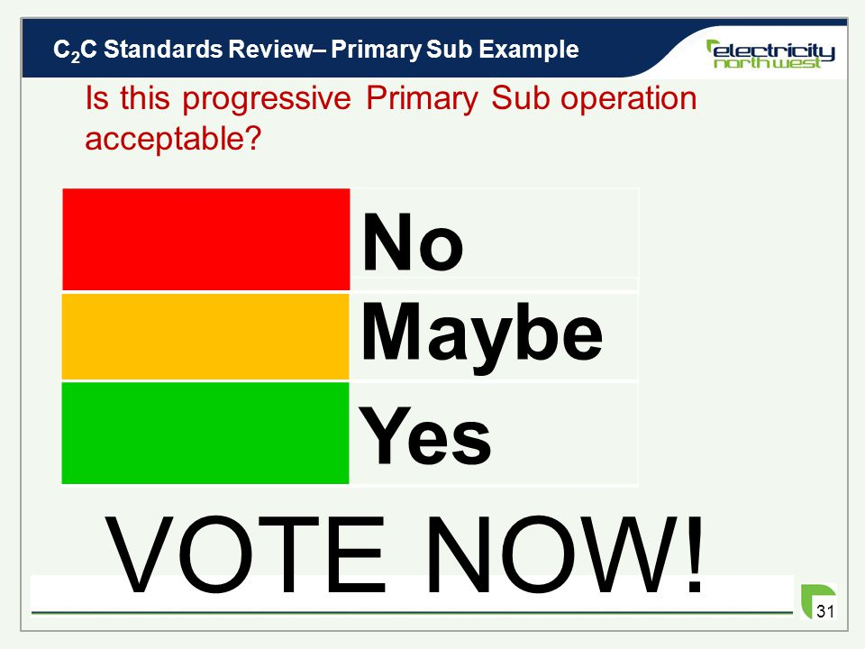 C 2 C Standards Review– Primary Sub Example 30 Is this progressive Primary Sub operation acceptable? Consequences Increase in frequency of short durat