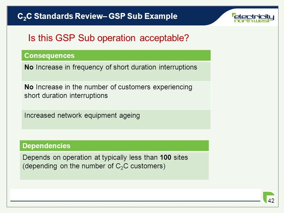 C 2 C Standards Review– GSP Sub Example 41 How much C 2 C demand can be connected? GSP Sub Example With C 2 C 132kV 180MVA  360MVA  Assume tx rating