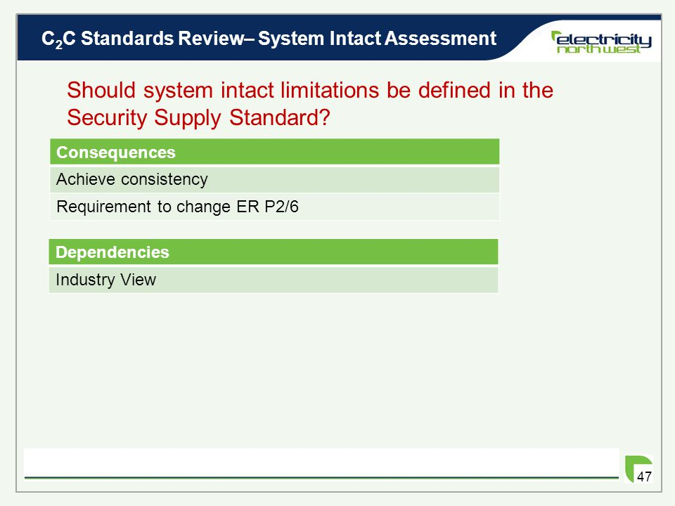 C 2 C Standards Review– System Intact Assessment 46 Should system intact limitations be defined in the Security Supply Standard? ER P2/6 modified to i
