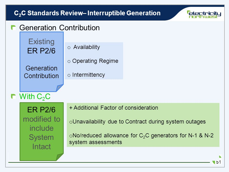 C 2 C Standards Review– Interruptible Generation 50 Changing ER P2/6 to accommodate Responsive Demand? System Intact Assessment Adjustment of generati