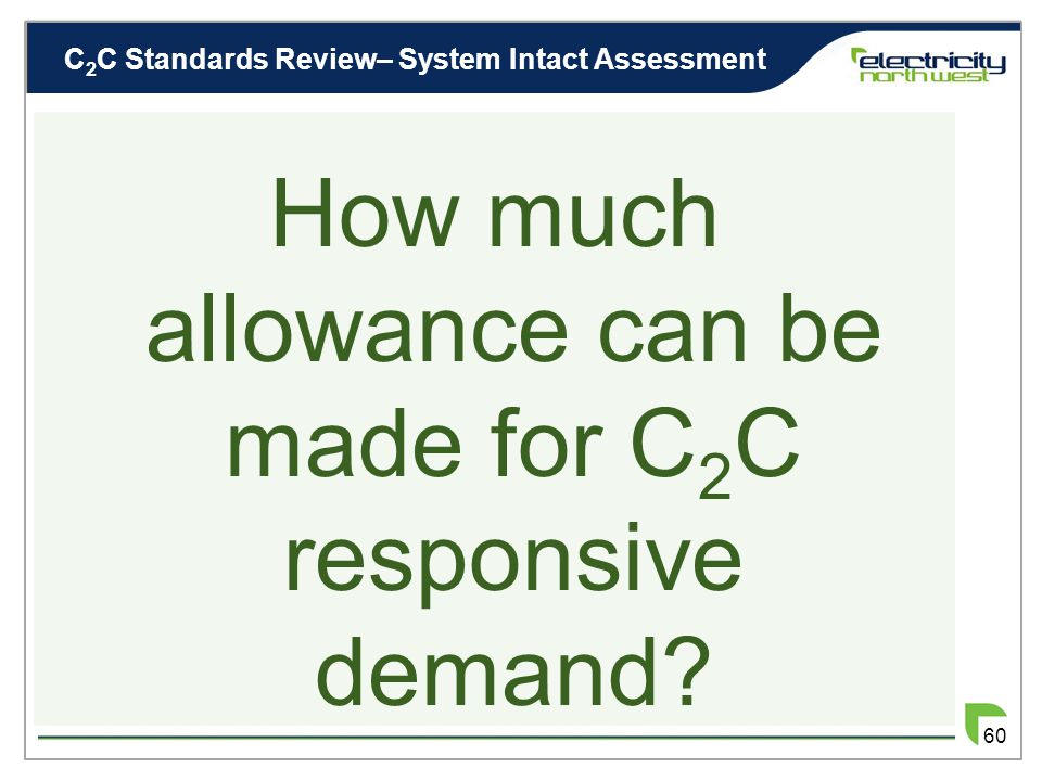 C 2 C Review– Responsive Demand Allowance 59 Does Responsive Demand fit best with ……