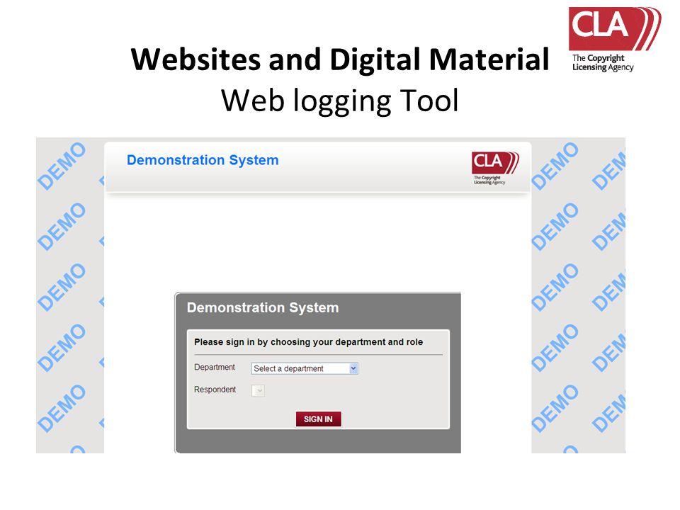 Websites and Digital Material Web logging Tool