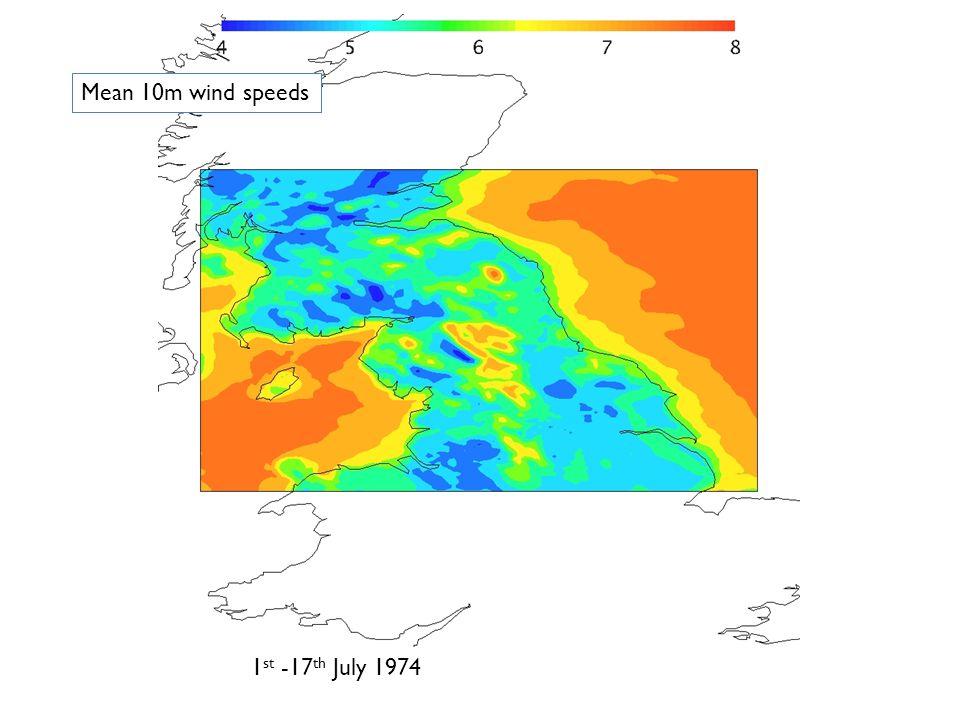 17 th -26 th July 1977 Mean 10m wind speeds