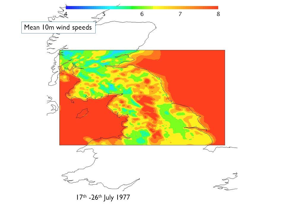 23 rd July -1 st August1993 Mean 10m wind speeds