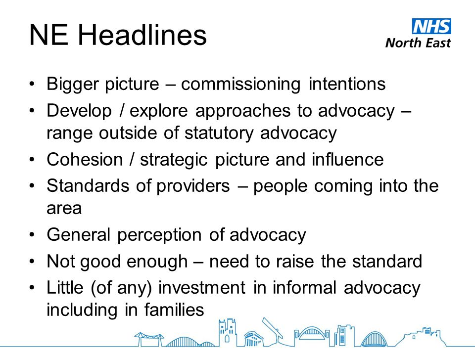 NE Headlines Bigger picture – commissioning intentions Develop / explore approaches to advocacy – range outside of statutory advocacy Cohesion / strat