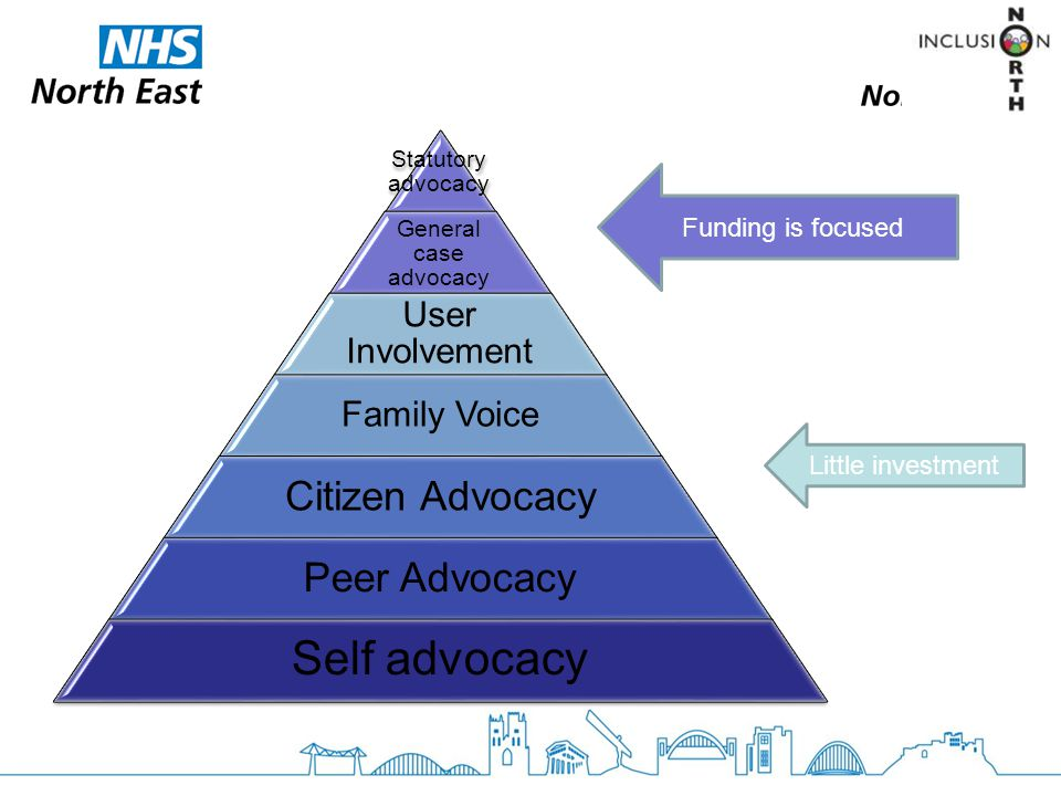 Statutory advocacy General case advocacy User Involvement Family Voice Citizen Advocacy Peer Advocacy Self advocacy Funding is focused Little investment