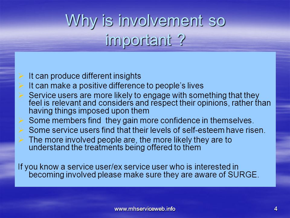 www.mhserviceweb.info4 Why is involvement so important .