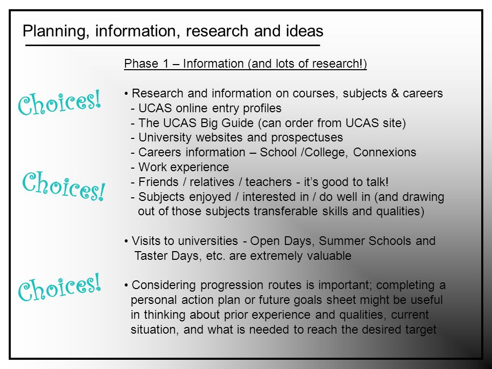 Planning, information, research and ideas Choices.
