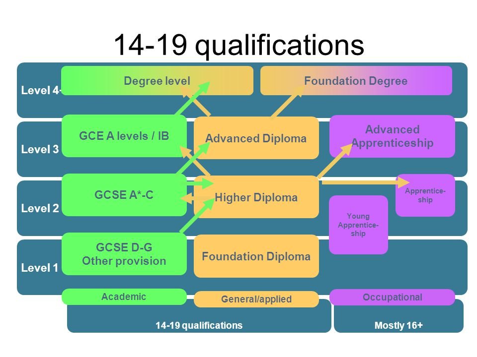 14-19 qualifications Level 4+ Level 3 Level 2 Level 1 14-19 qualificationsMostly 16+ Degree levelFoundation Degree GCSE D-G Other provision Academic GCSE A*-C GCE A levels / IB Foundation Diploma General/applied Higher Diploma Advanced Diploma Occupational Young Apprentice- ship Advanced Apprenticeship Apprentice- ship
