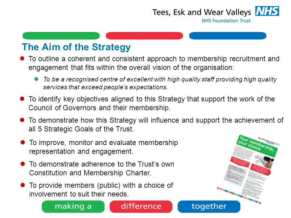 The Aim of the Strategy To outline a coherent and consistent approach to membership recruitment and engagement that fits within the overall vision of the organisation: To be a recognised centre of excellent with high quality staff providing high quality services that exceed people's expectations.