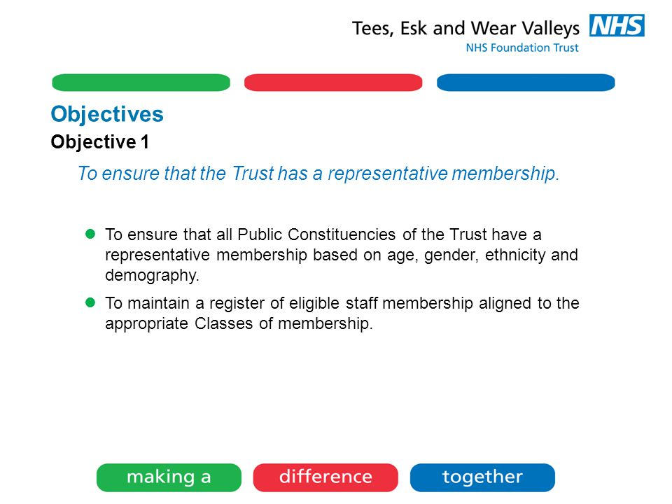 Objectives Objective 1 To ensure that the Trust has a representative membership.