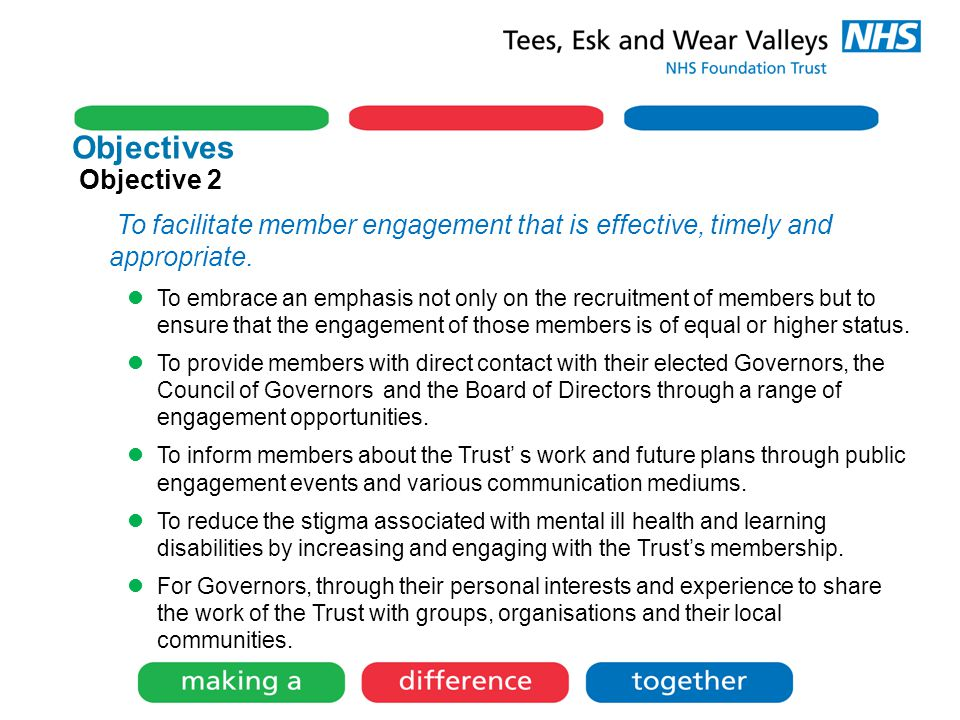 Objectives Objective 2 To facilitate member engagement that is effective, timely and appropriate.