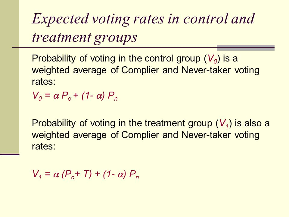 Expected voting rates in control and treatment groups Probability of voting in the control group (V 0 ) is a weighted average of Complier and Never-ta