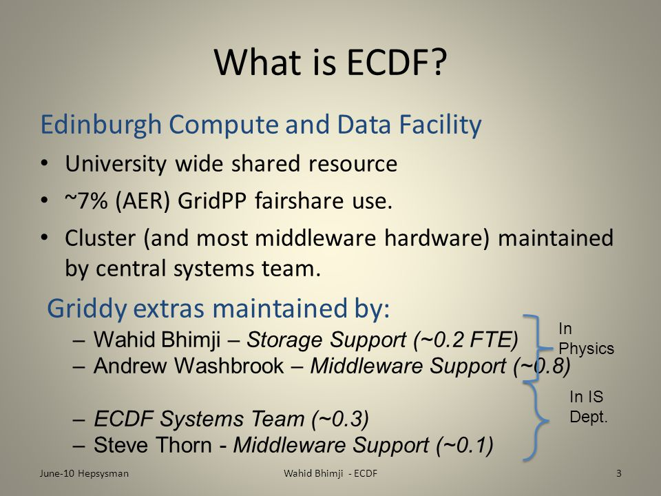 Conclusions Many improvements in middleware, reliability and delivery since we were here in 09 New hardware available soon - significant increases in resource Shared service is working here: but it's not always easy June-10 HepsysmanWahid Bhimji - ECDF14