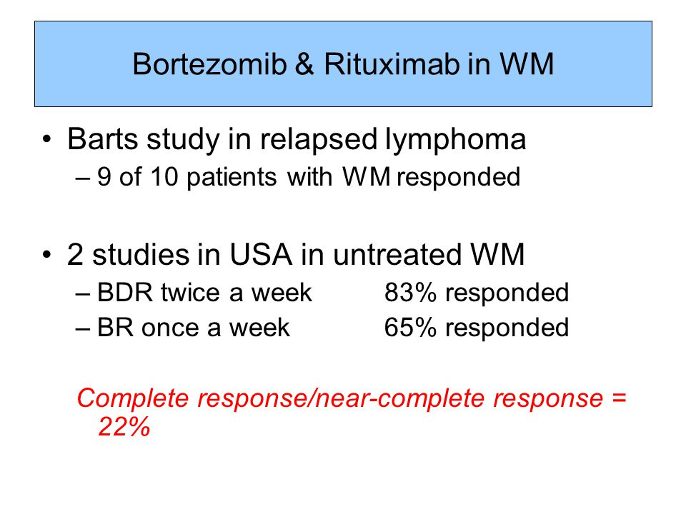 Bortezomib & Rituximab in WM Barts study in relapsed lymphoma –9 of 10 patients with WM responded 2 studies in USA in untreated WM –BDR twice a week 8