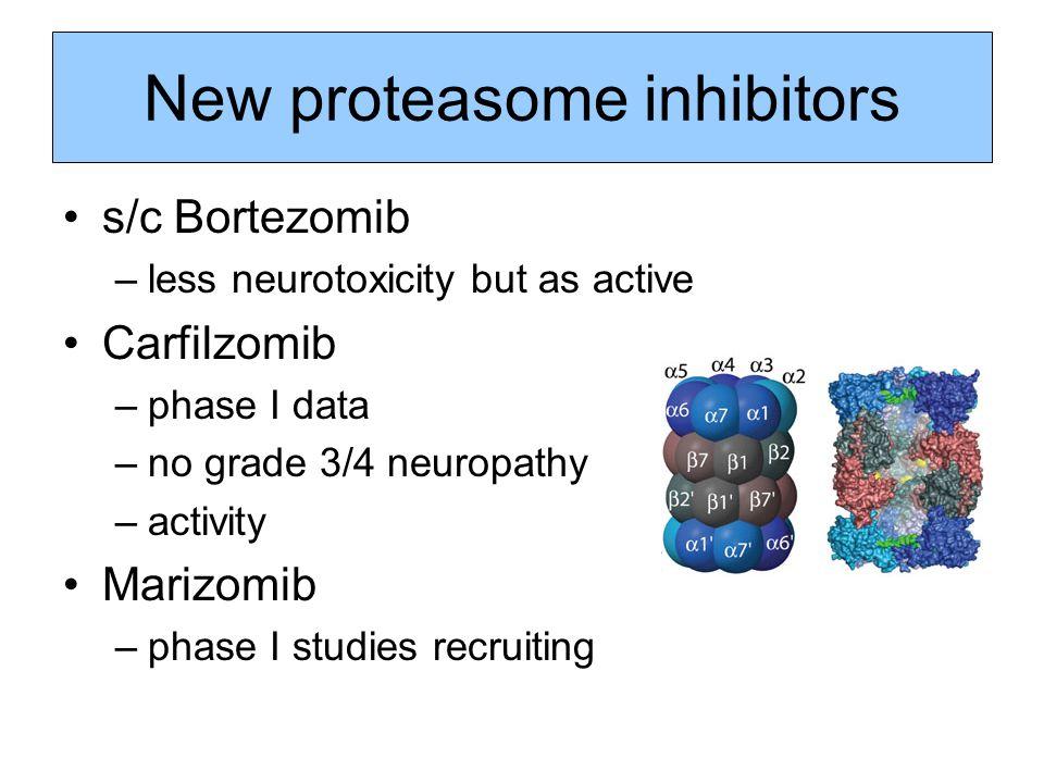 New proteasome inhibitors s/c Bortezomib –less neurotoxicity but as active Carfilzomib –phase I data –no grade 3/4 neuropathy –activity Marizomib –pha