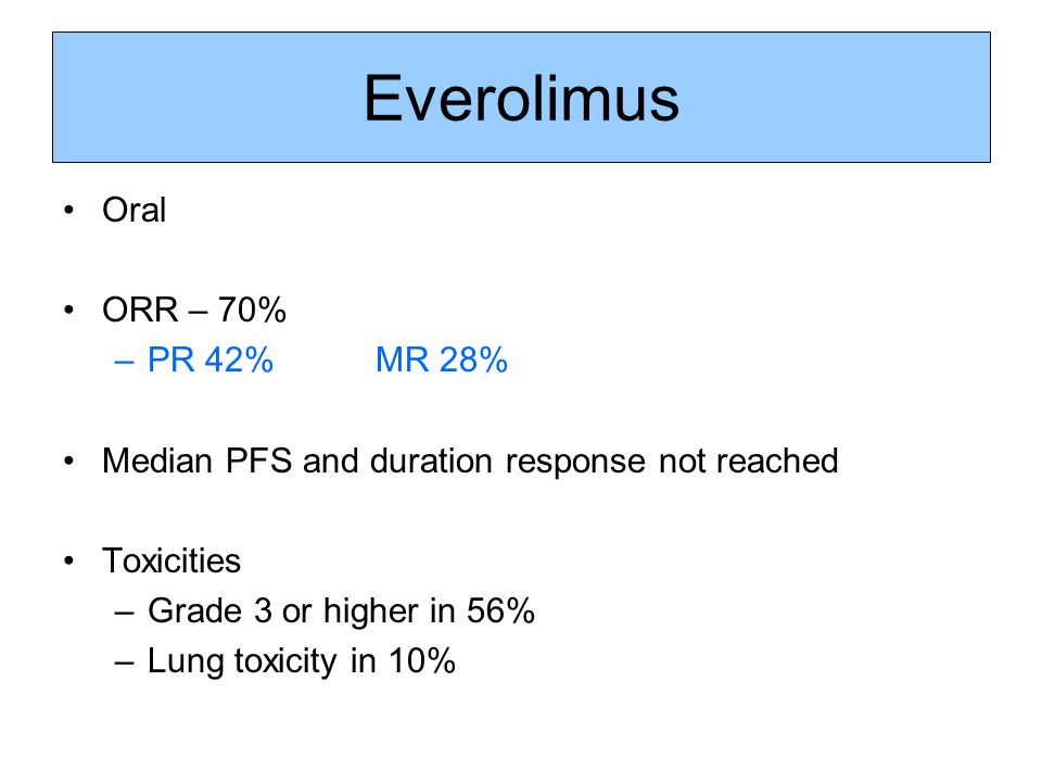 Everolimus Oral ORR – 70% –PR 42% MR 28% Median PFS and duration response not reached Toxicities –Grade 3 or higher in 56% –Lung toxicity in 10%