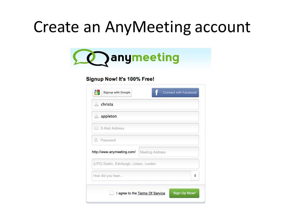 Create an AnyMeeting account