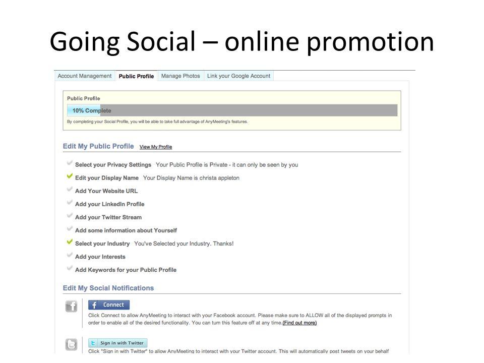 Going Social – online promotion