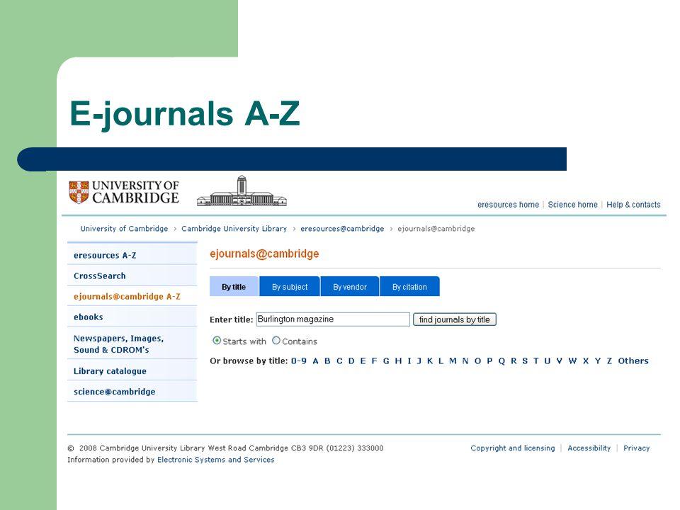 E-journals A-Z