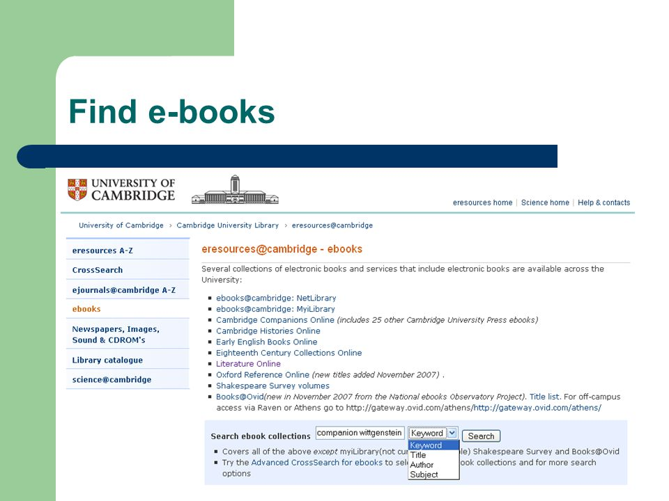 Find e-books