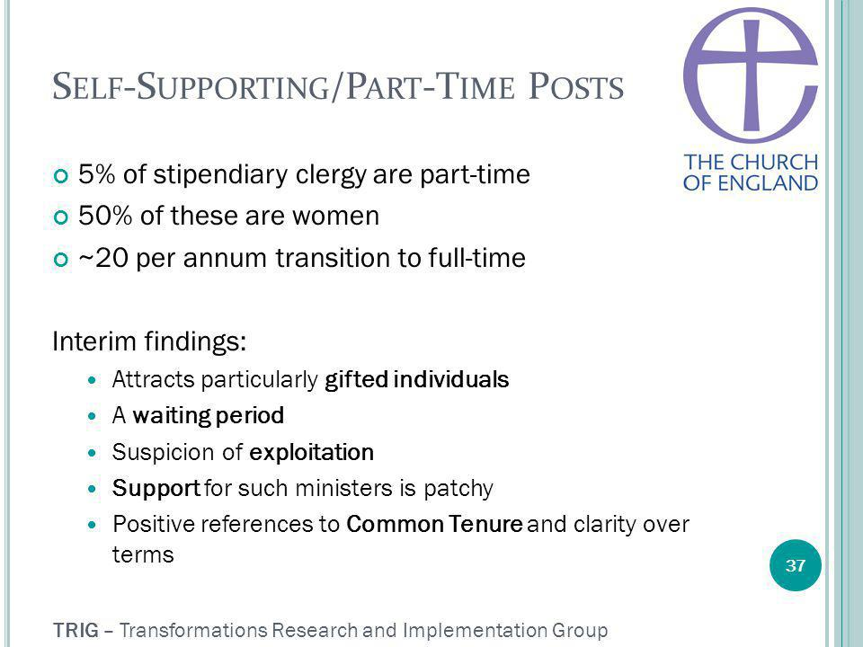 TRIG – Transformations Research and Implementation Group S ELF -S UPPORTING /P ART -T IME P OSTS 5% of stipendiary clergy are part-time 50% of these are women ~20 per annum transition to full-time Interim findings: Attracts particularly gifted individuals A waiting period Suspicion of exploitation Support for such ministers is patchy Positive references to Common Tenure and clarity over terms 37