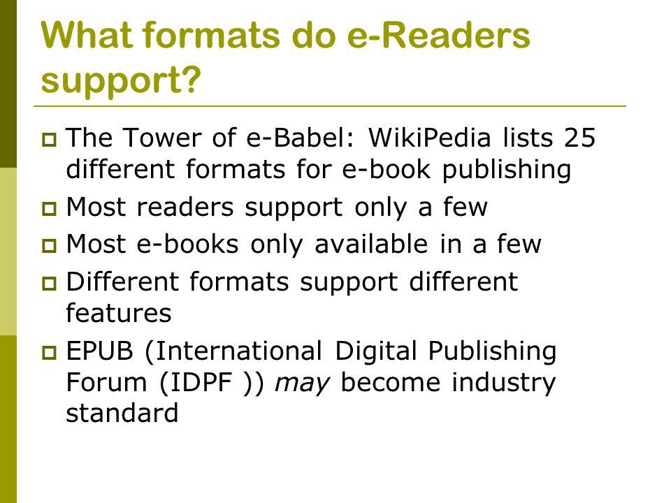 What formats do e-Readers support.