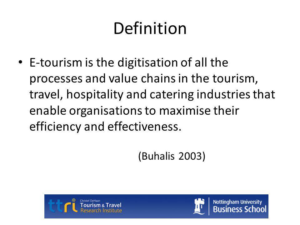 E-tourism Includes All Business Functions E-commerce and E-marketing E-finance and E-accounting E-HRM E-Procurement E-Strategy E-Planning E-Management