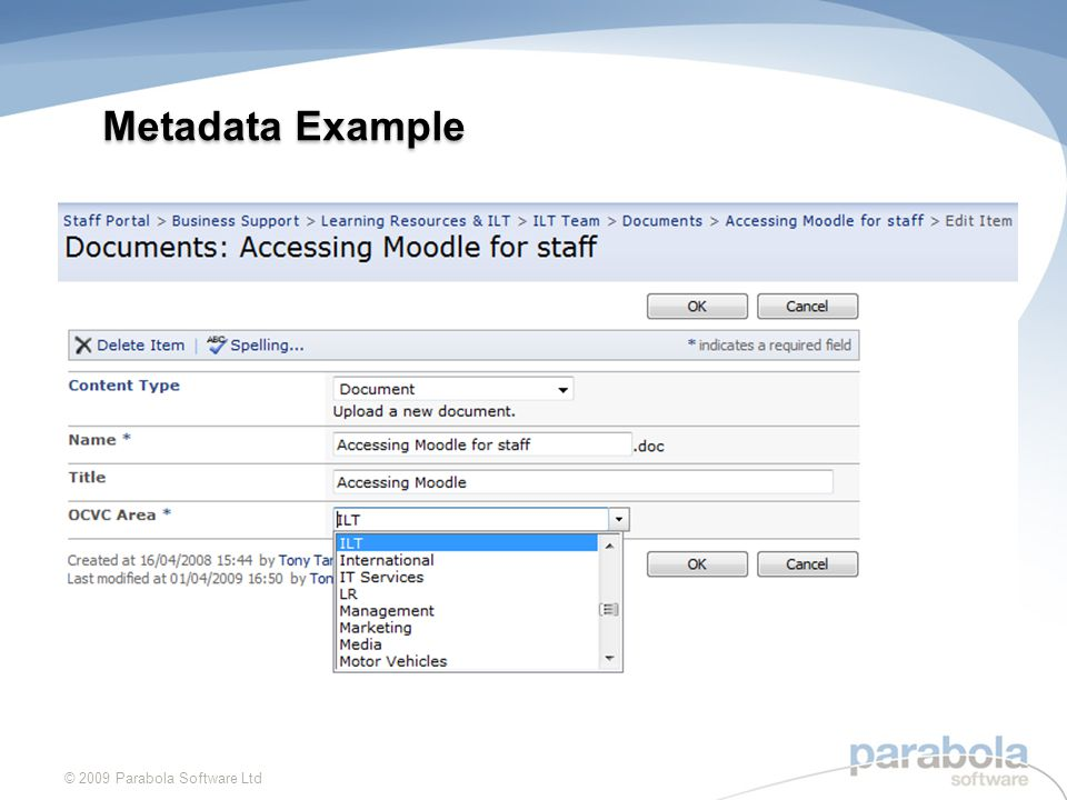 Metadata Example © 2009 Parabola Software Ltd