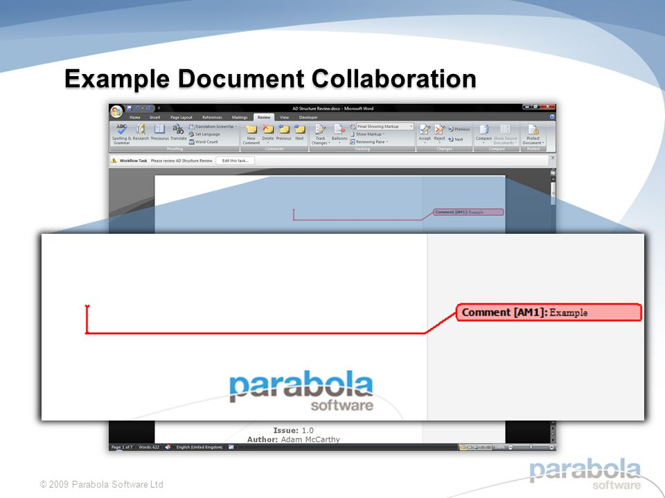 Example Document Collaboration © 2009 Parabola Software Ltd