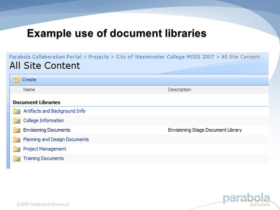 © 2009 Parabola Software Ltd Content Types Example