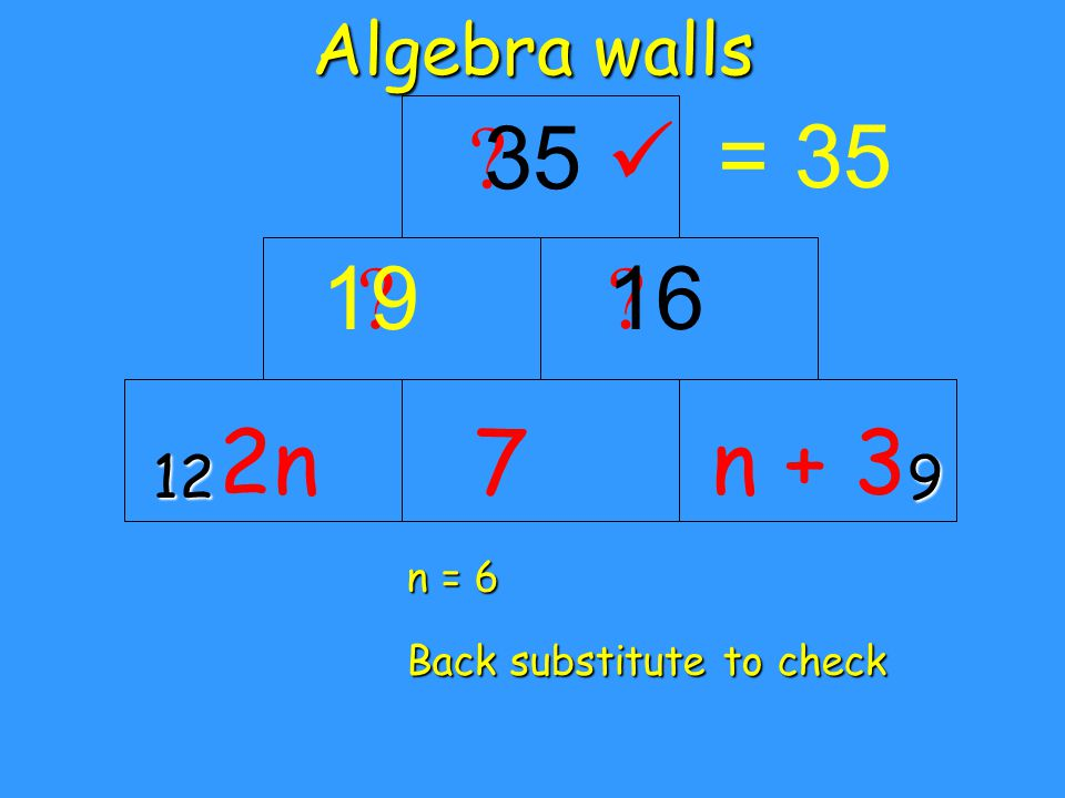 Algebra walls = n = 6 Back substitute to check 9 2nn