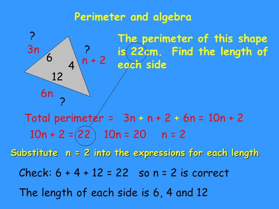 Perimeter and algebra n + 2 3n 6n The perimeter of this shape is 22cm.