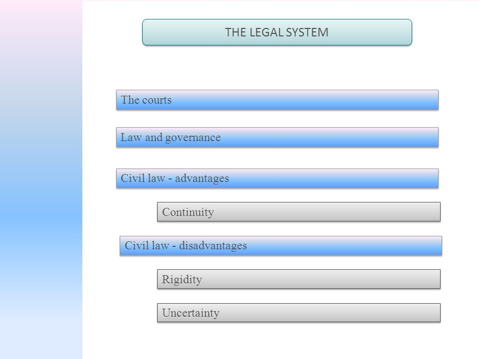 THE LEGAL SYSTEM The courts Civil law - advantages Civil law - disadvantages Law and governance Continuity Rigidity Uncertainty