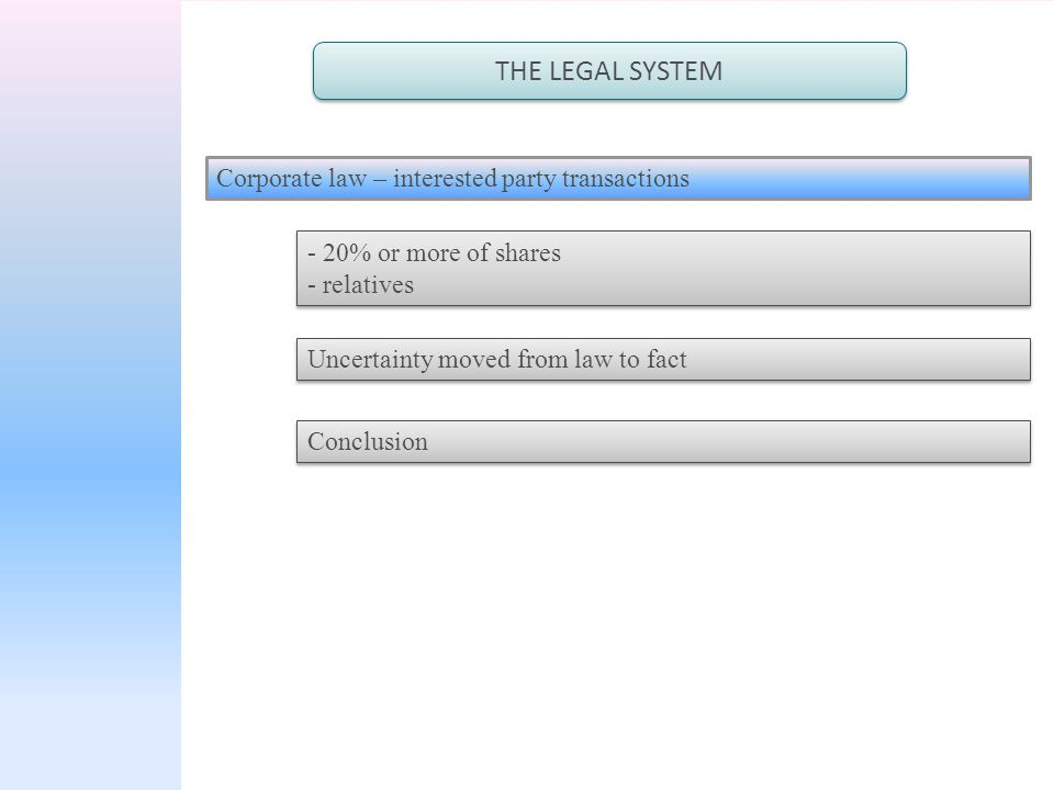 THE LEGAL SYSTEM Corporate law – interested party transactions - 20% or more of shares - relatives - 20% or more of shares - relatives Uncertainty moved from law to fact Conclusion