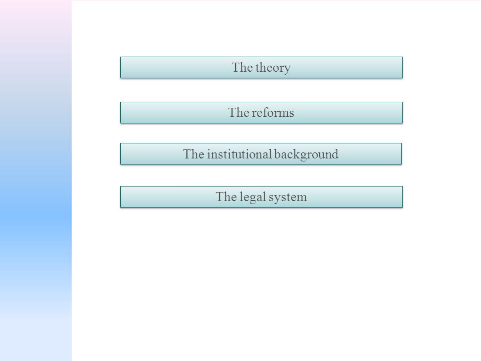 The theory The reforms The institutional background The legal system