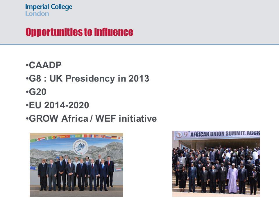 Opportunities to influence CAADP G8 : UK Presidency in 2013 G20 EU 2014-2020 GROW Africa / WEF initiative