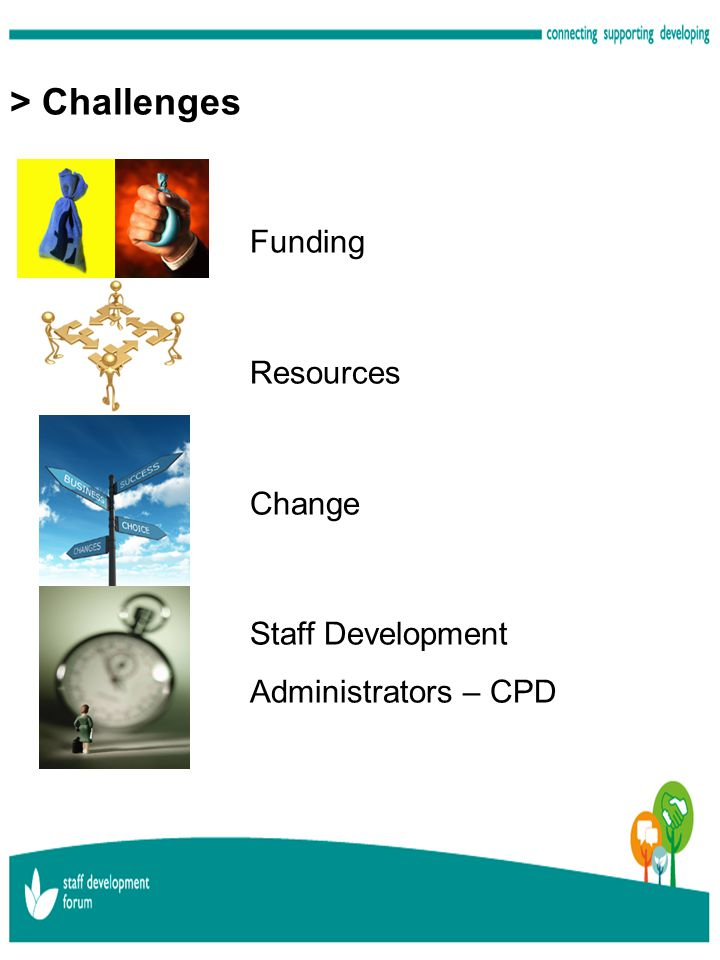> Challenges Funding Resources Change Staff Development Administrators – CPD
