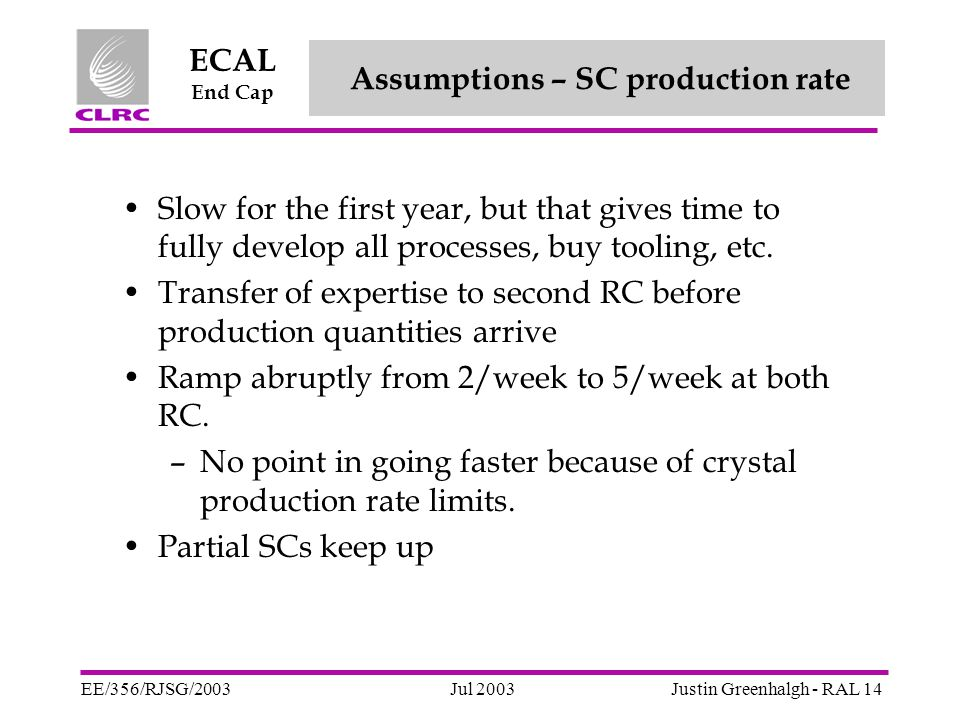 Jul 2003 ECAL End Cap EE/356/RJSG/2003Justin Greenhalgh - RAL 14 Assumptions – SC production rate Slow for the first year, but that gives time to fully develop all processes, buy tooling, etc.