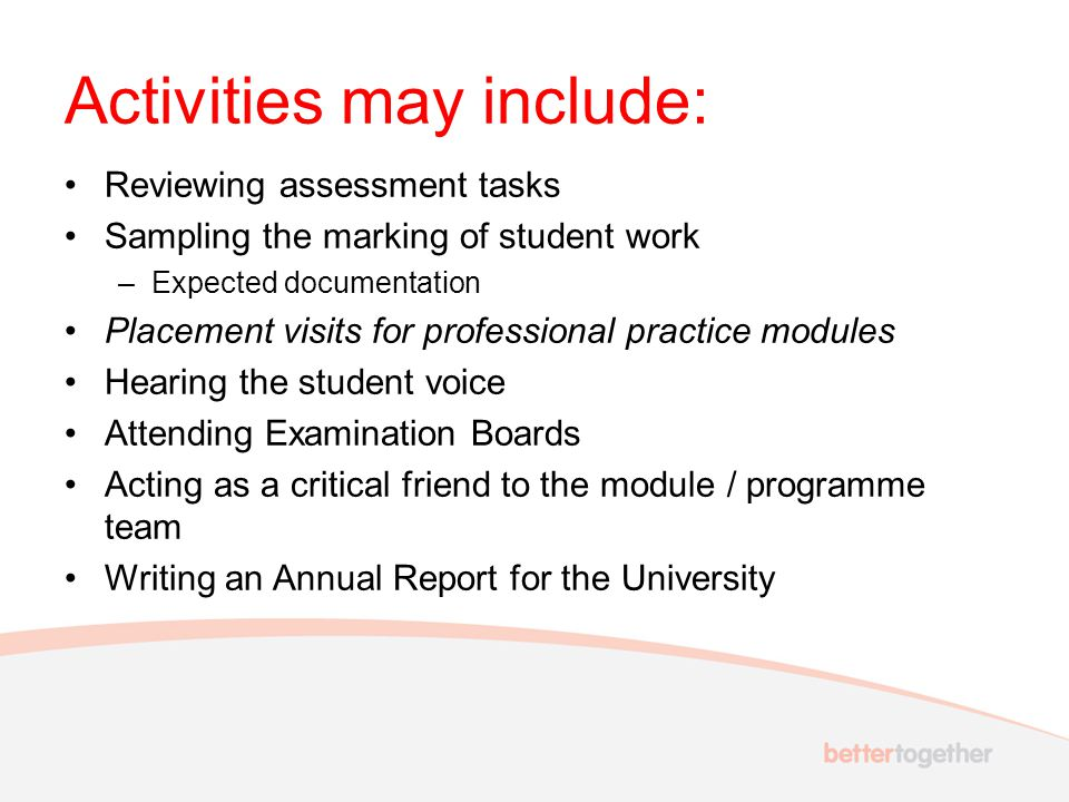 Activities may include: Reviewing assessment tasks Sampling the marking of student work –Expected documentation Placement visits for professional practice modules Hearing the student voice Attending Examination Boards Acting as a critical friend to the module / programme team Writing an Annual Report for the University