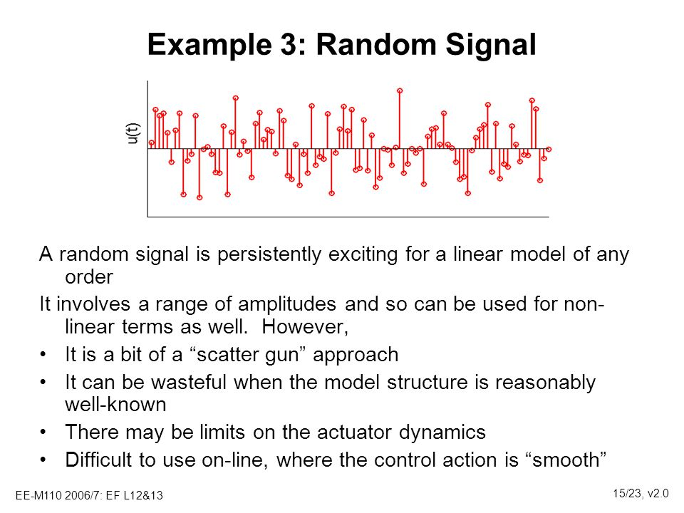 EE-M110 2006/7: EF L12&13 15/23, v2.0 Example 3: Random Signal A random signal is persistently exciting for a linear model of any order It involves a