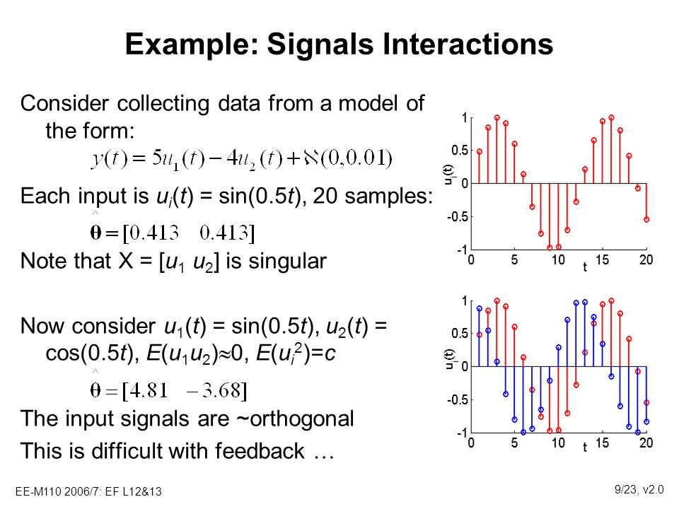 EE-M110 2006/7: EF L12&13 9/23, v2.0 Example: Signals Interactions Consider collecting data from a model of the form: Each input is u i (t) = sin(0.5t