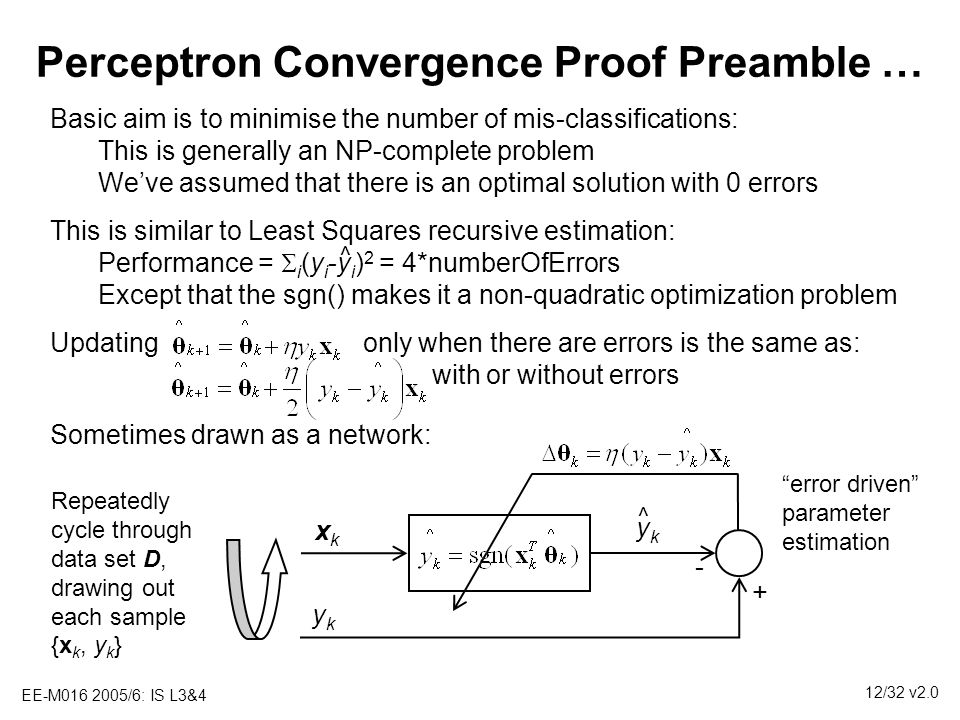 EE-M016 2005/6: IS L3&4 12/32 v2.0 Perceptron Convergence Proof Preamble … Basic aim is to minimise the number of mis-classifications: This is general