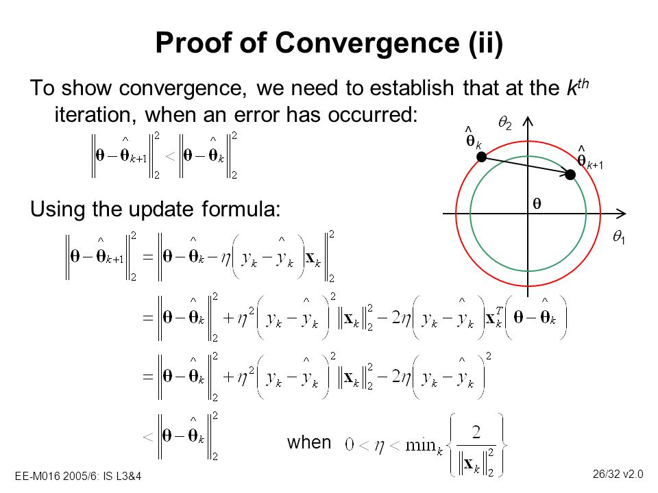 EE-M016 2005/6: IS L3&4 26/32 v2.0 Proof of Convergence (ii) To show convergence, we need to establish that at the k th iteration, when an error has o