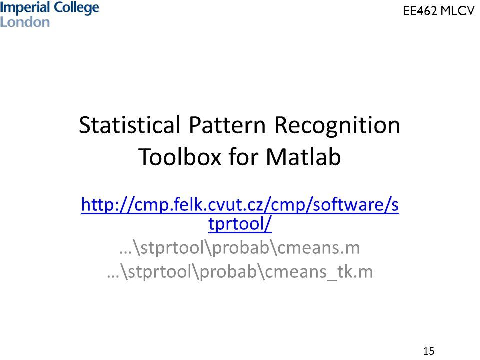 EE462 MLCV 15 Statistical Pattern Recognition Toolbox for Matlab http://cmp.felk.cvut.cz/cmp/software/s tprtool/ …\stprtool\probab\cmeans.m …\stprtool